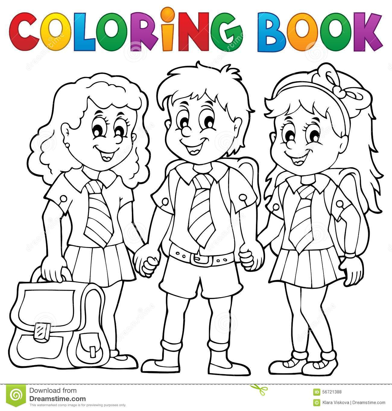 Coloring book school - Coloring Book With School Pupils