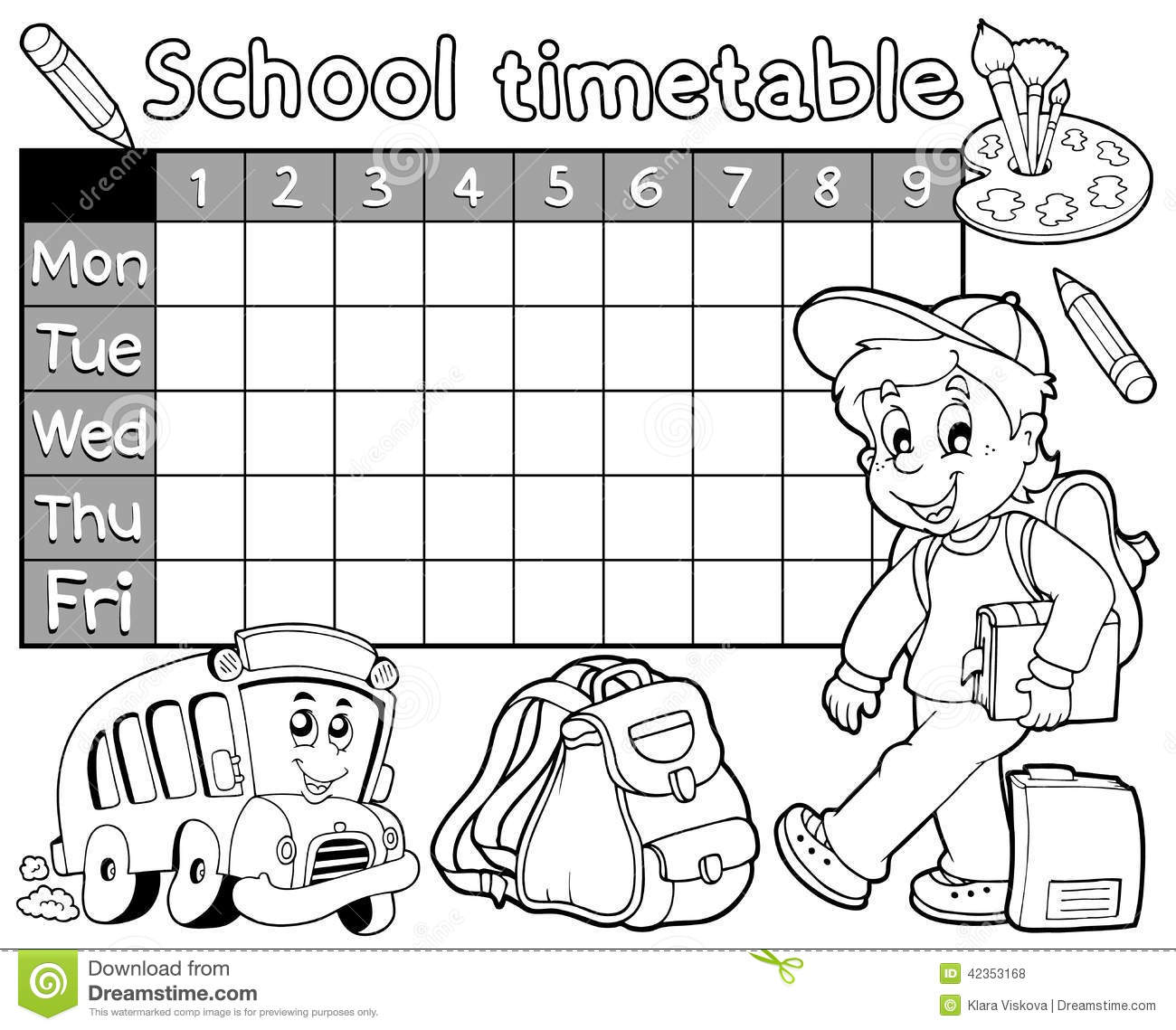 Coloring Book School Timetable 1 Stock Vector Image