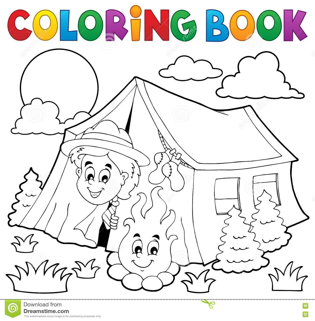 coloring book scout cing in tent stock vector