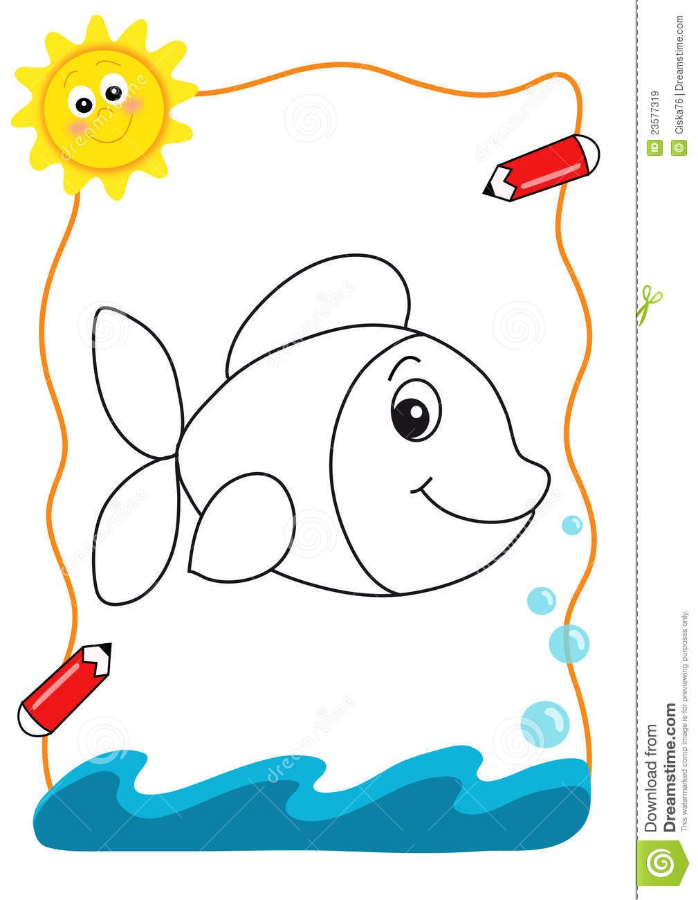 Coloring book sea the fish royalty free stock images for Colorful fish book