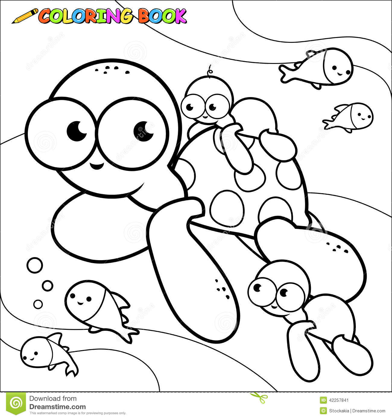 Coloring Book Sea Turtles Underwater Stock Vector
