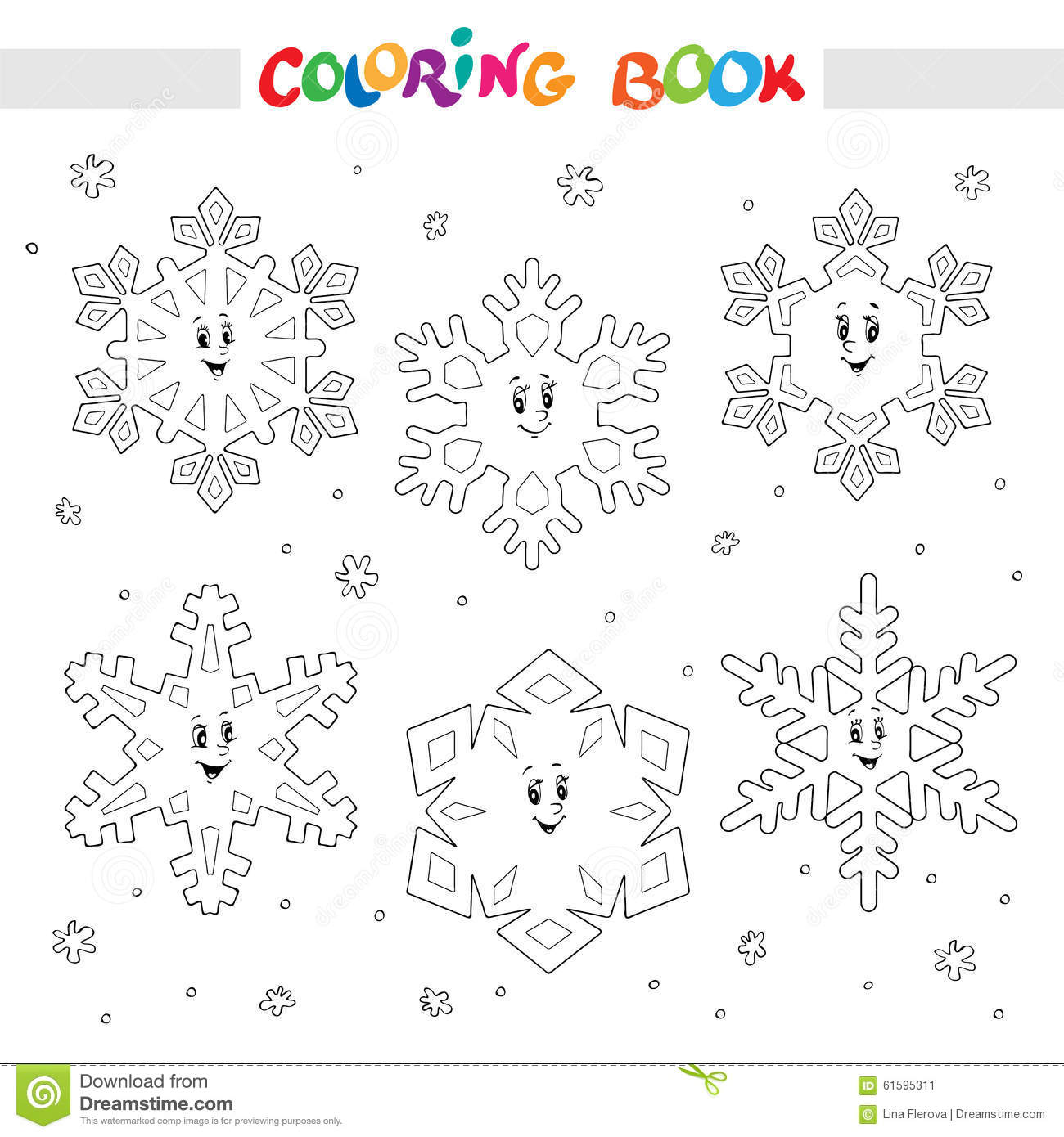 Coloring Book. Set Of Cartoon Snowflakes For Kids. Stock Vector ...