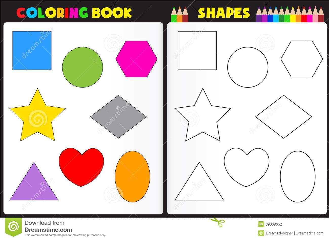 Book Page For Kids With Colorful Shapes And Sketches To Color