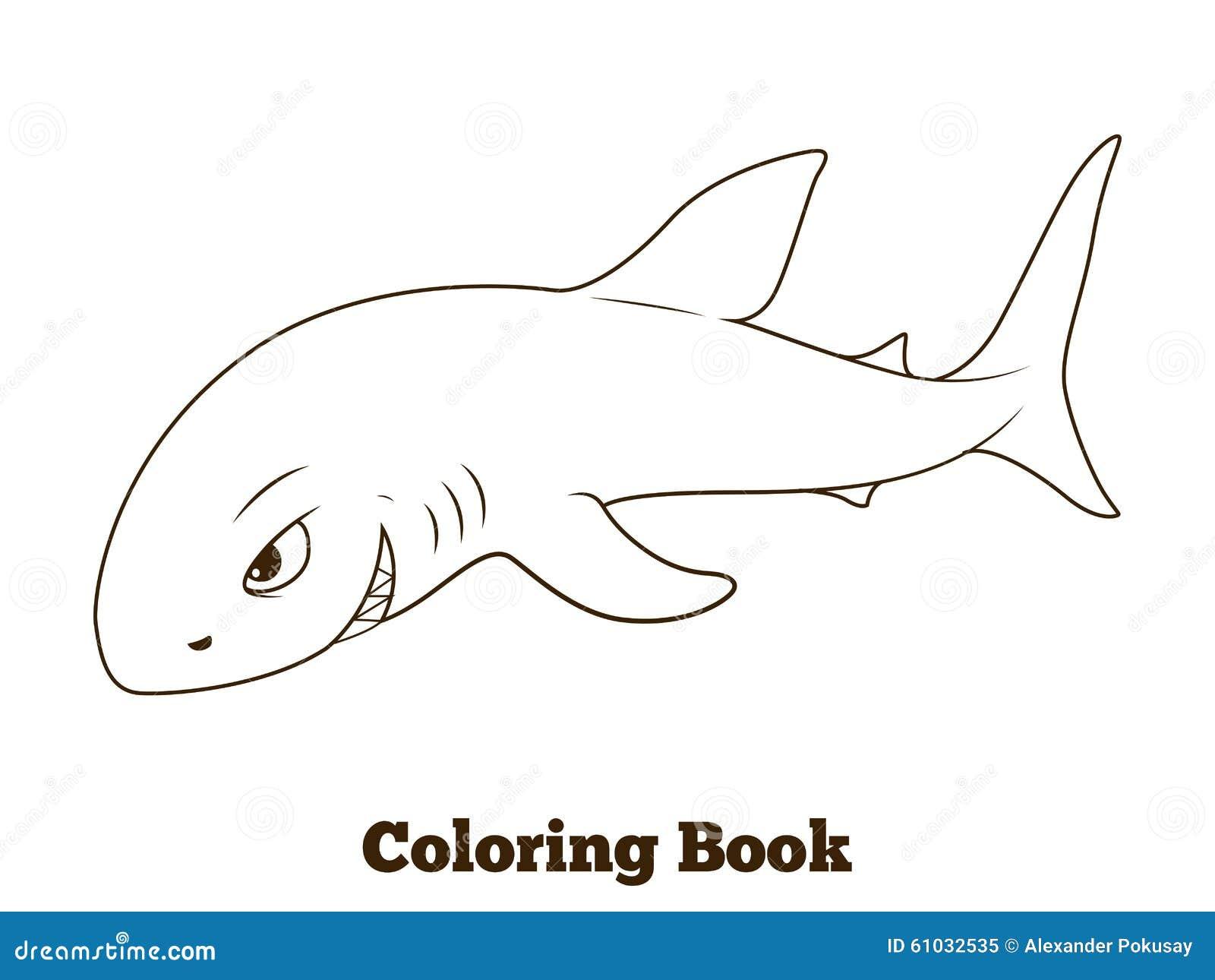 cartoon shark coloring pages - coloring book shark cartoon educational stock vector