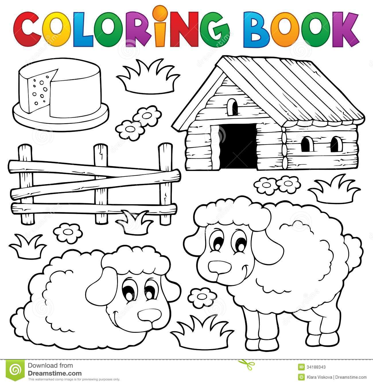 coloring pictures sheep : Coloring Book Sheep Theme 1
