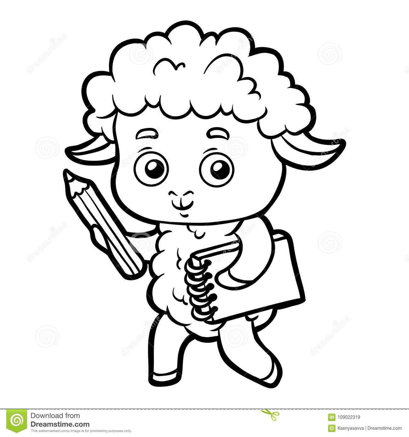 Coloring Book, Sheep Writer With A Pencil And A Notebook Stock ...