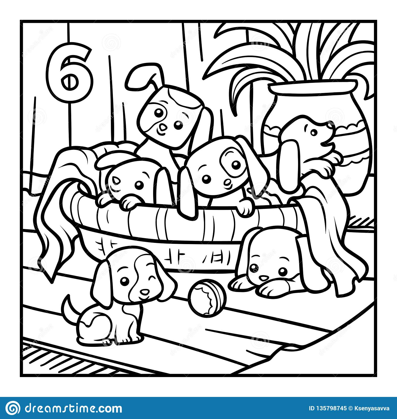 Coloring book, Six dogs stock vector. Illustration of home ...