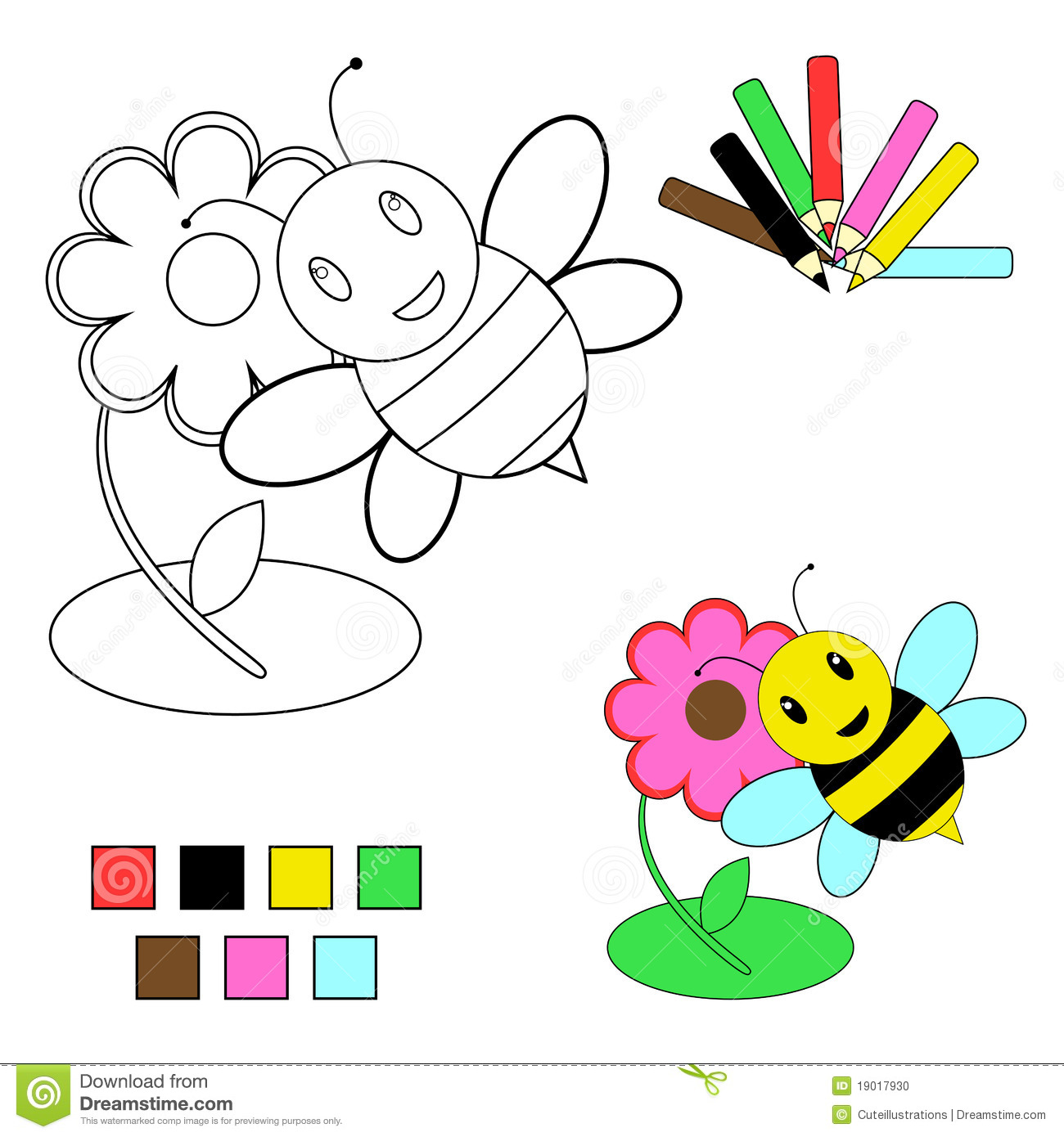 Coloring Book Sketch Bee And Flower Stock Photo Image 19017930