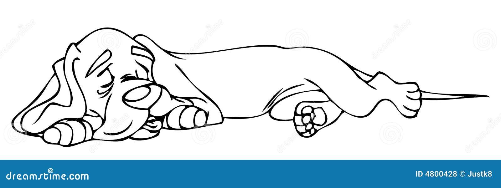 coloring book - sleeping dog royalty free stock photos