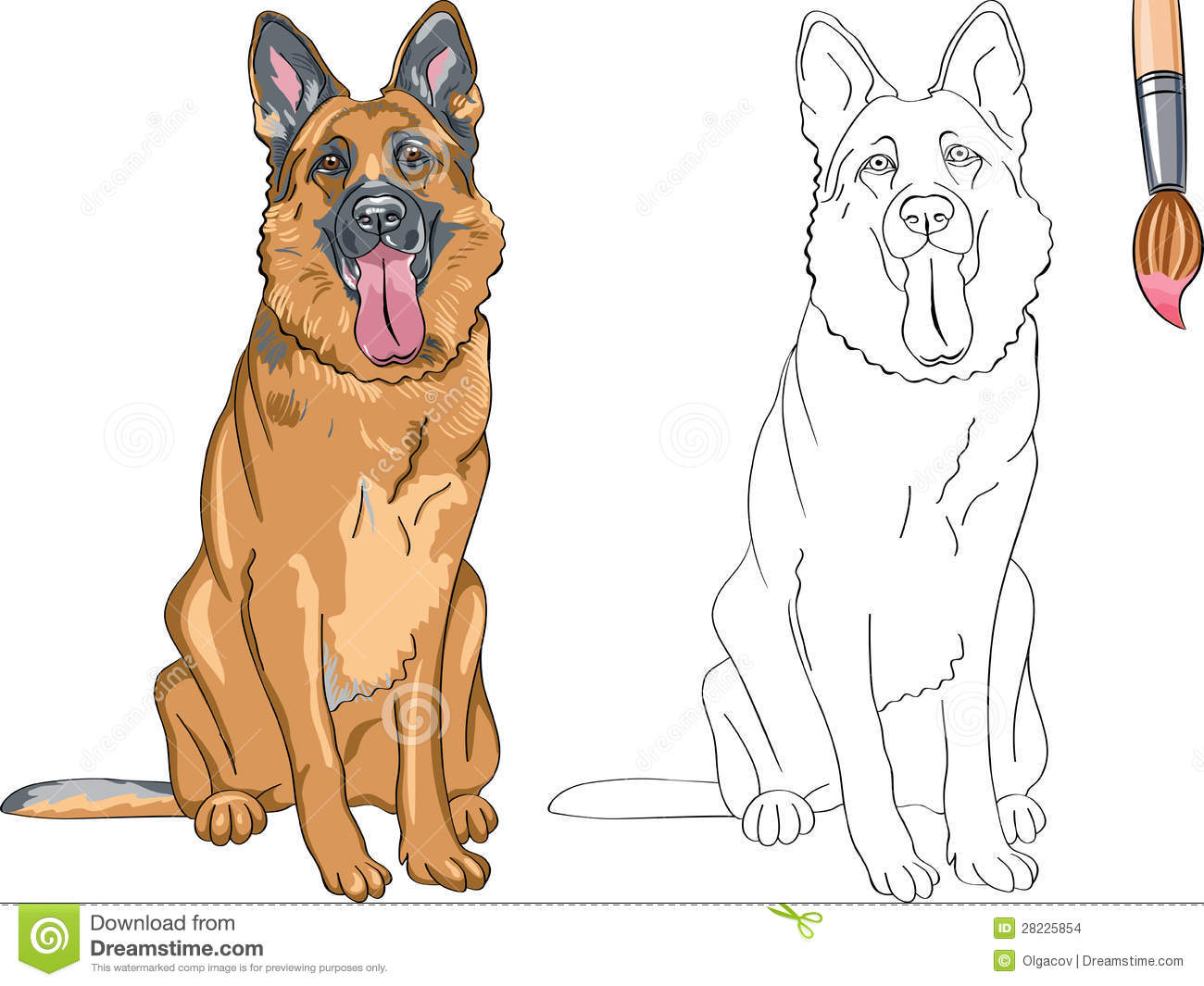 Coloring Book for Children of funny smiling dog German shepherd breed.