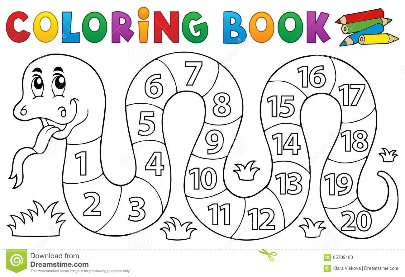 Royalty Free Vector Download Coloring Book Snake With Numbers
