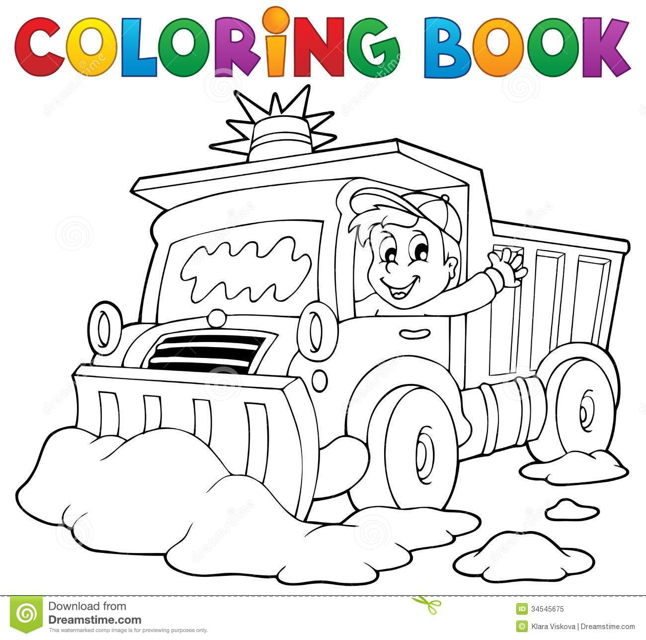 Coloring Book Snow Plough Stock Vector Illustration Of