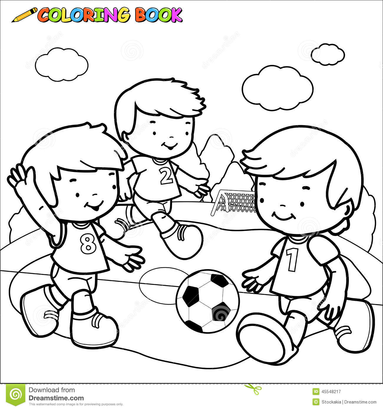 Coloring Page Girl Playing Soccer