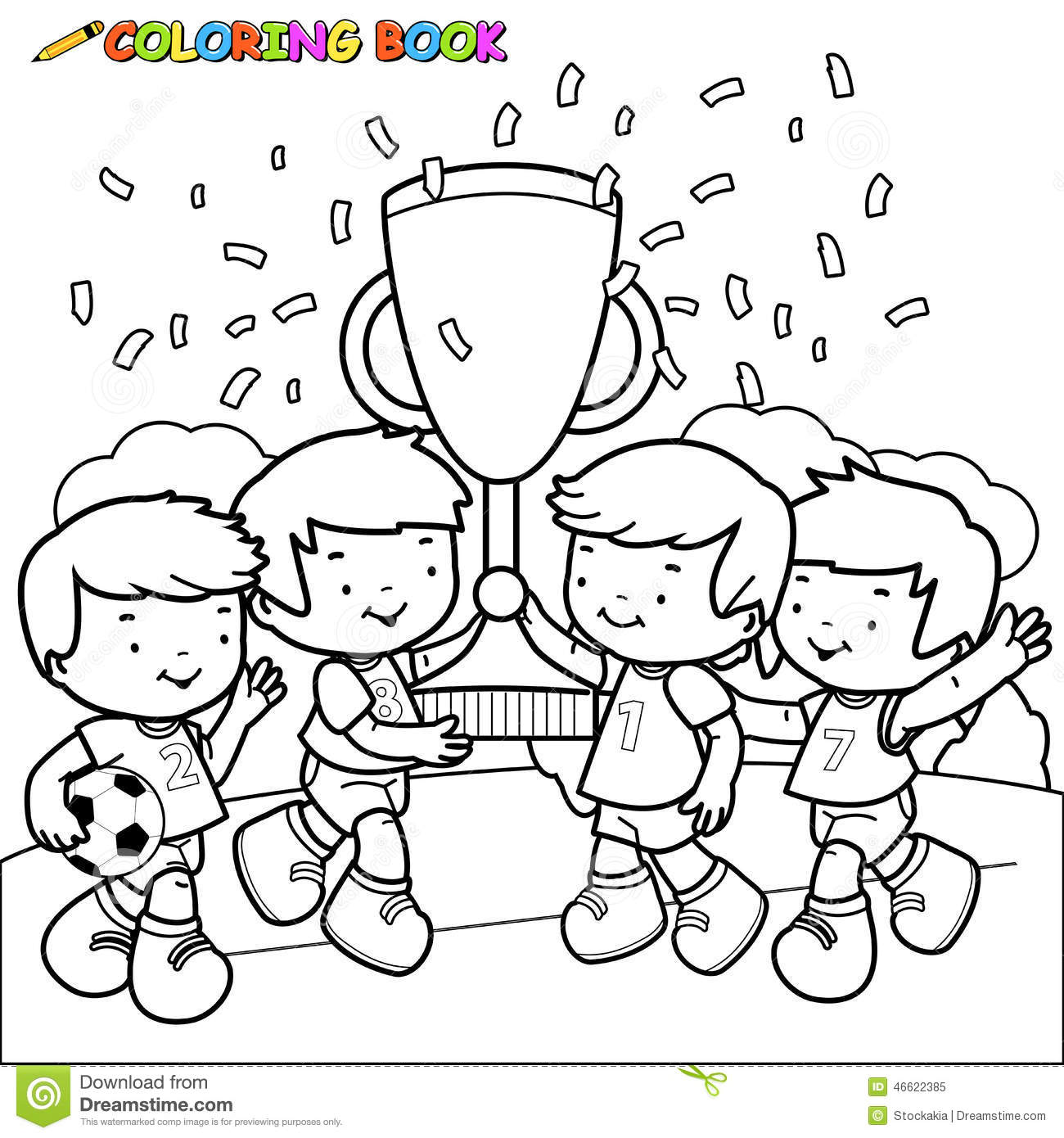 coloring book soccer kids champions stock vector