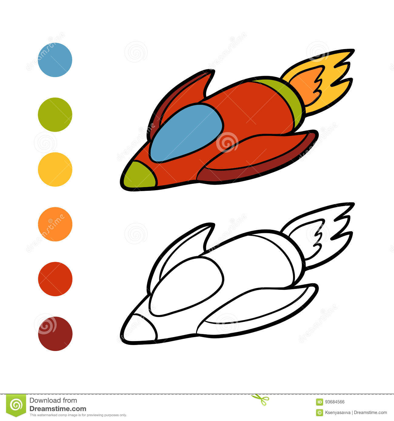 Coloring book, Spaceship stock vector. Illustration of outline ...