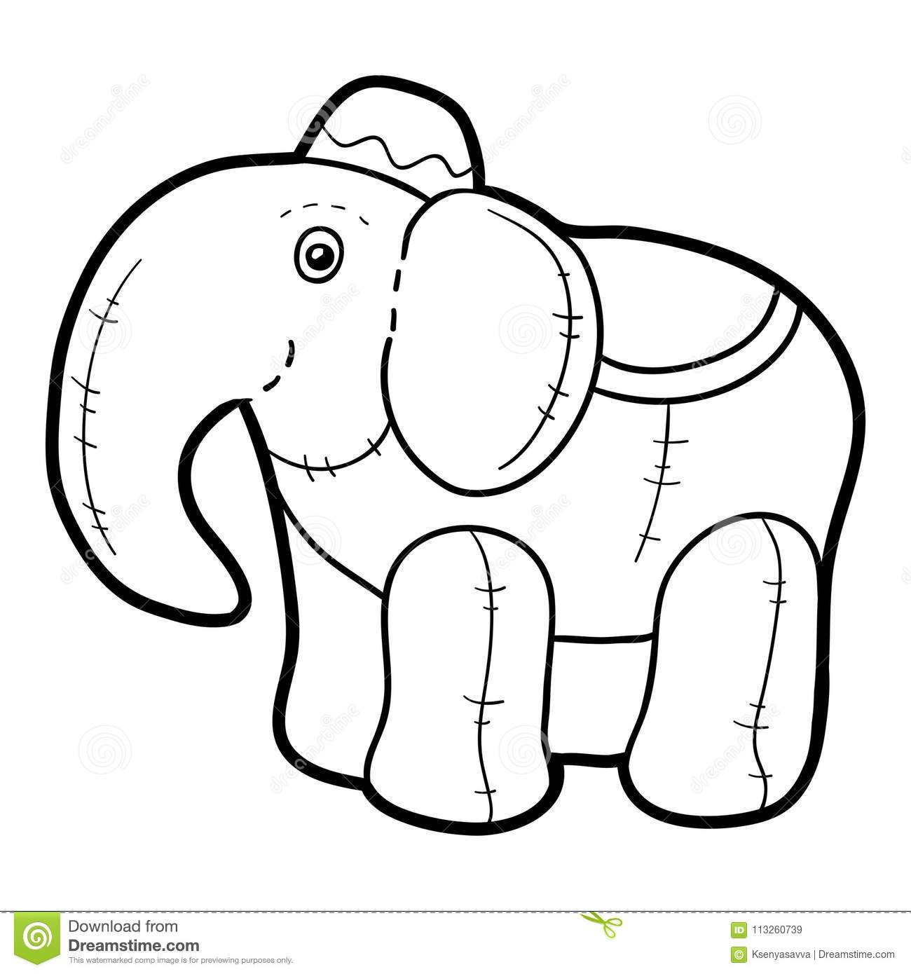 Coloring Book, Stuffed Toy Elephant Stock Vector - Illustration of ...