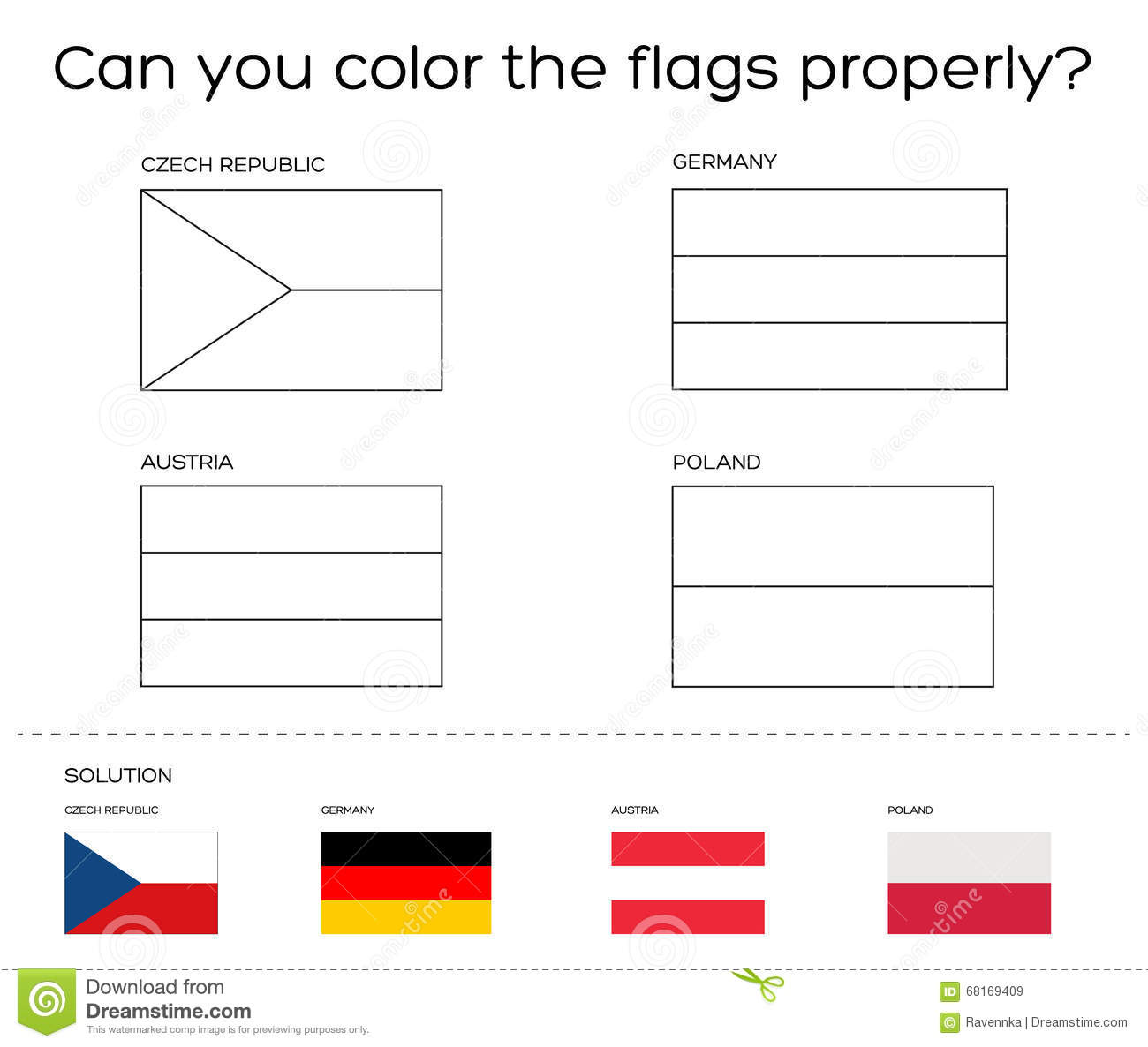 coloring book task european flags with solution stock