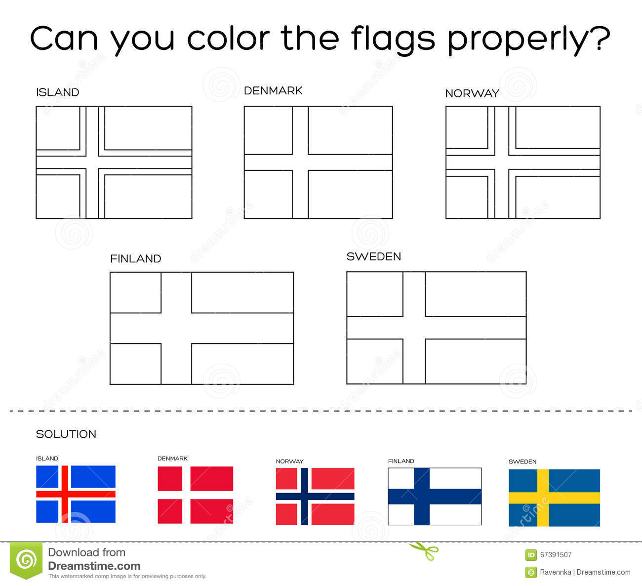 norway flag coloring page - coloring book task scandinavian flags with solution