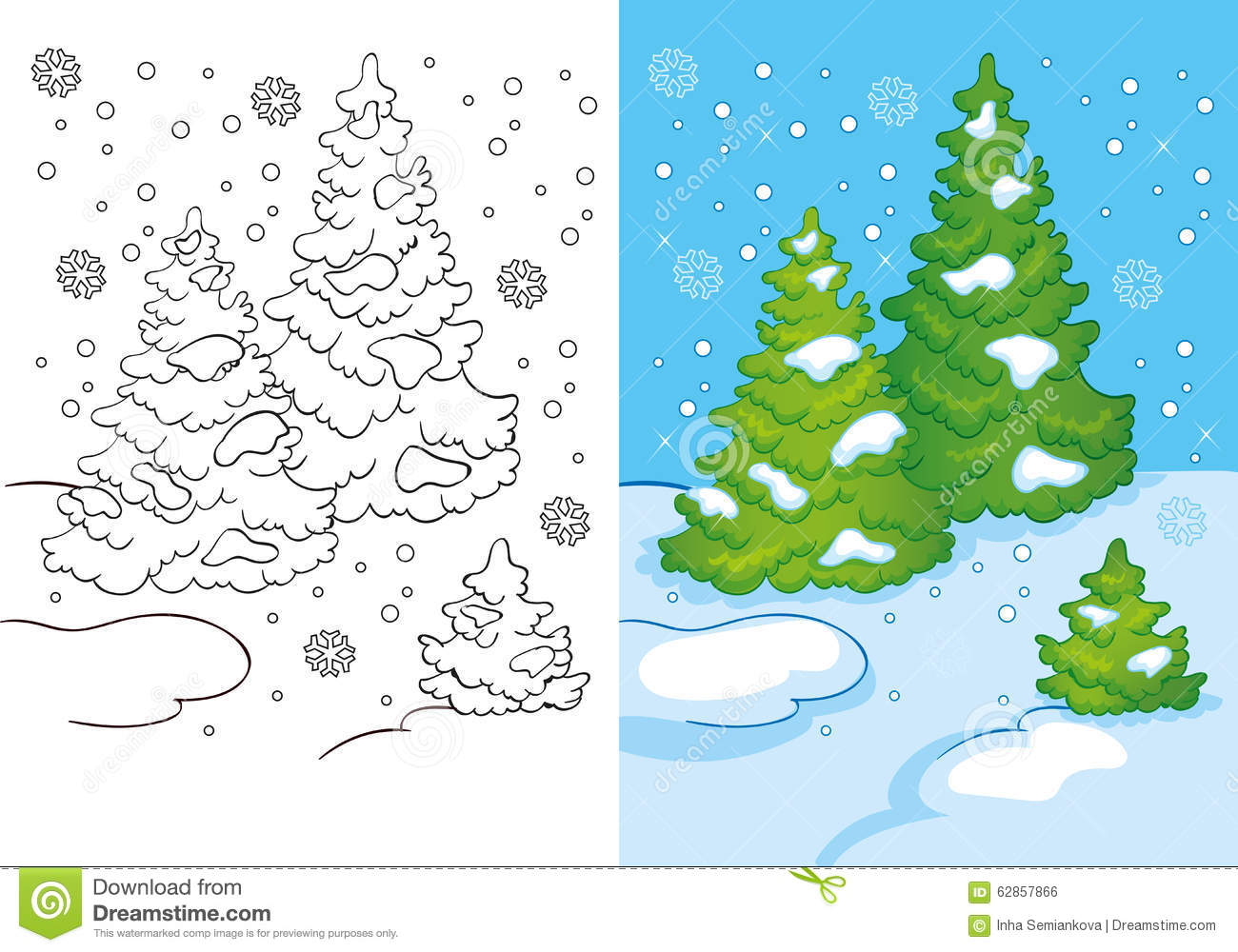 Coloring Book Of Three Trees In The Snow Stock Illustration ...