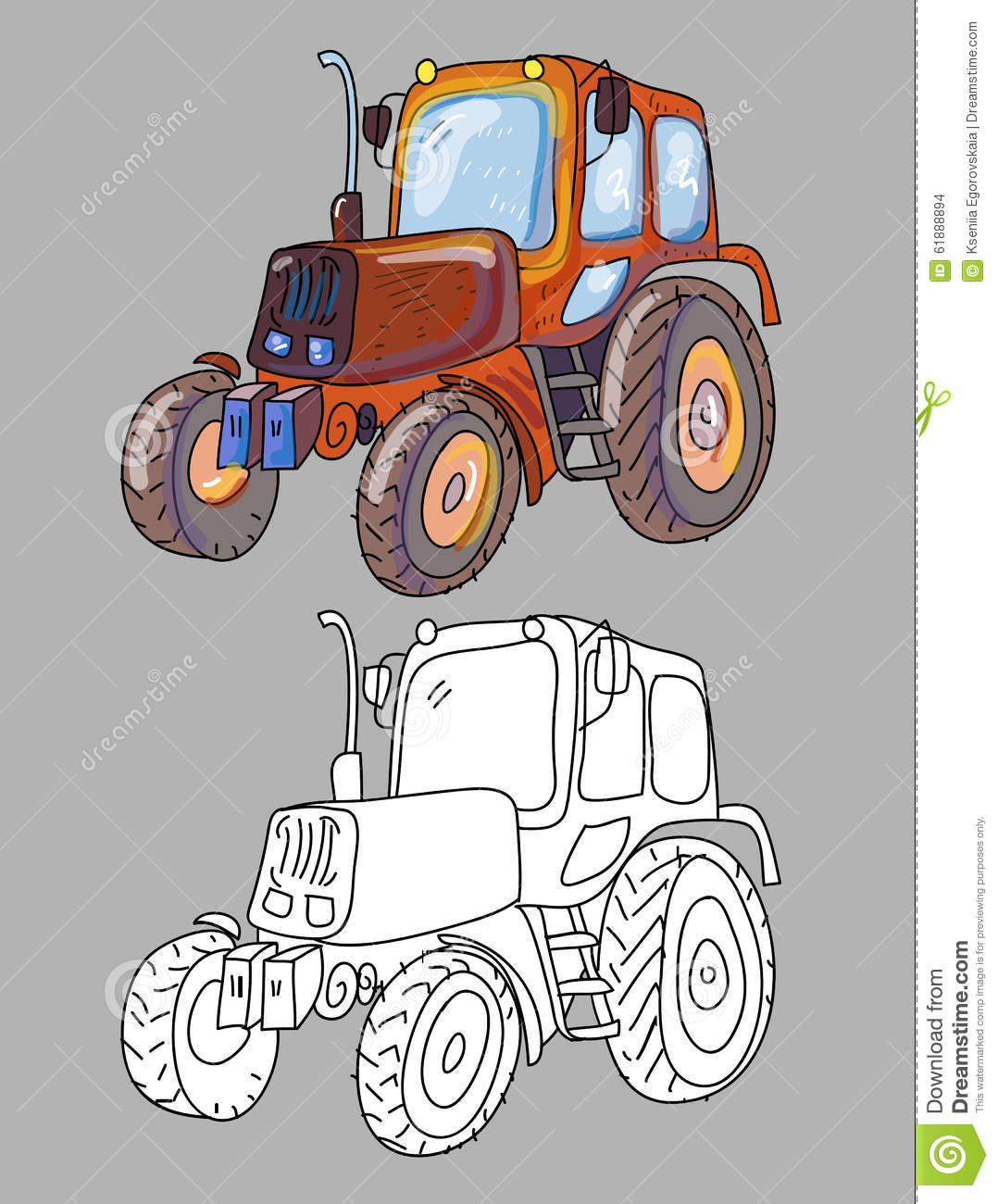 coloring book with tractor stock vector image 61888894