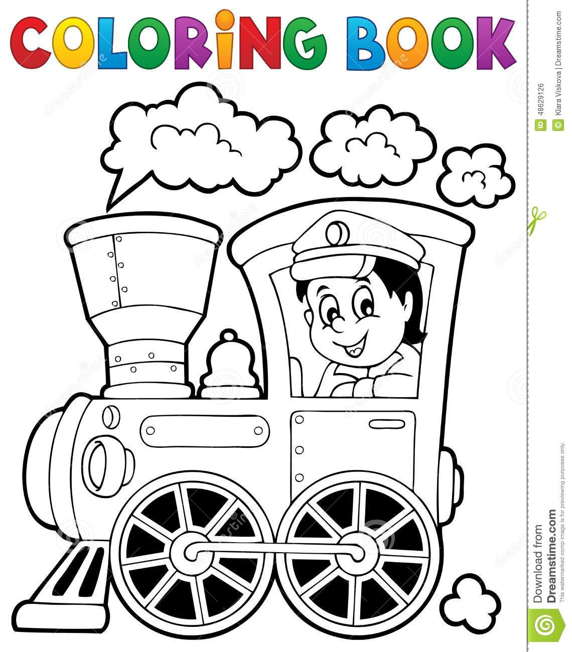 Coloring Book Train Theme 1 Stock Vector - Illustration of railroad ...