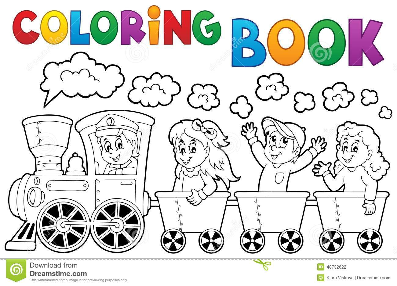 Royalty Free Vector Download Coloring Book Train