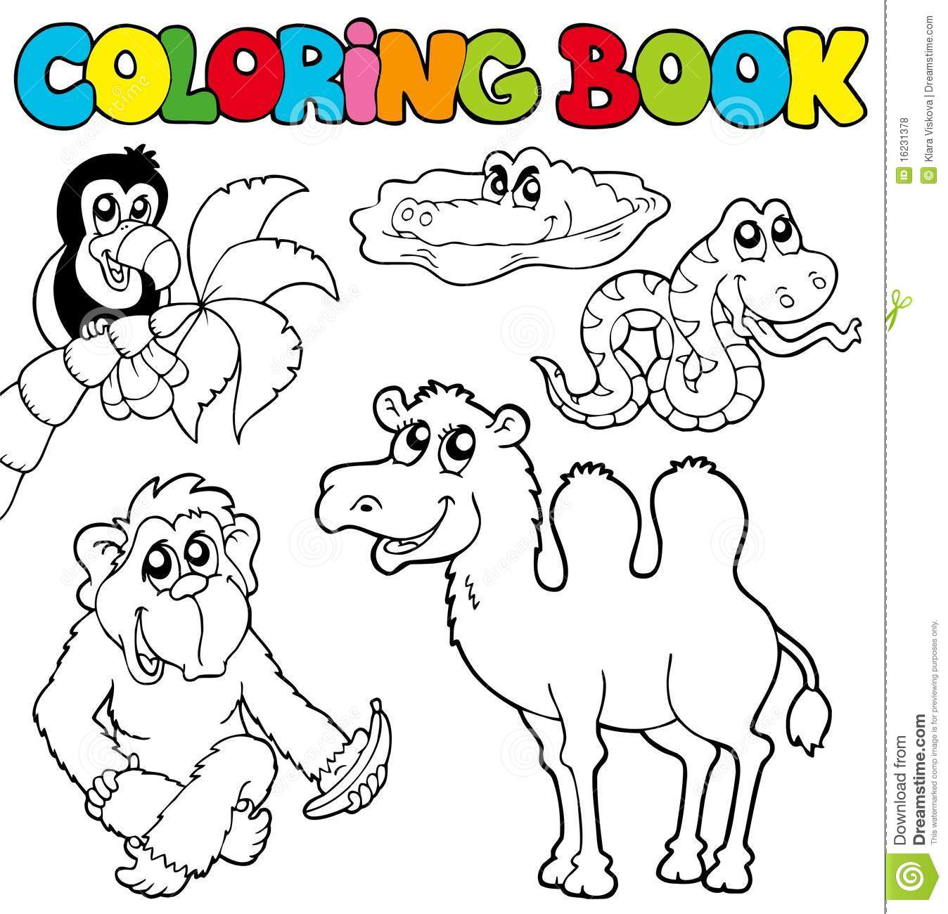 royalty free stock photo download coloring book with tropic animals - Coloring Book Animals