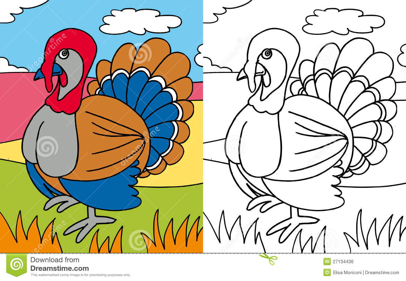 Coloring book turkey stock illustration. Illustration of funny ...