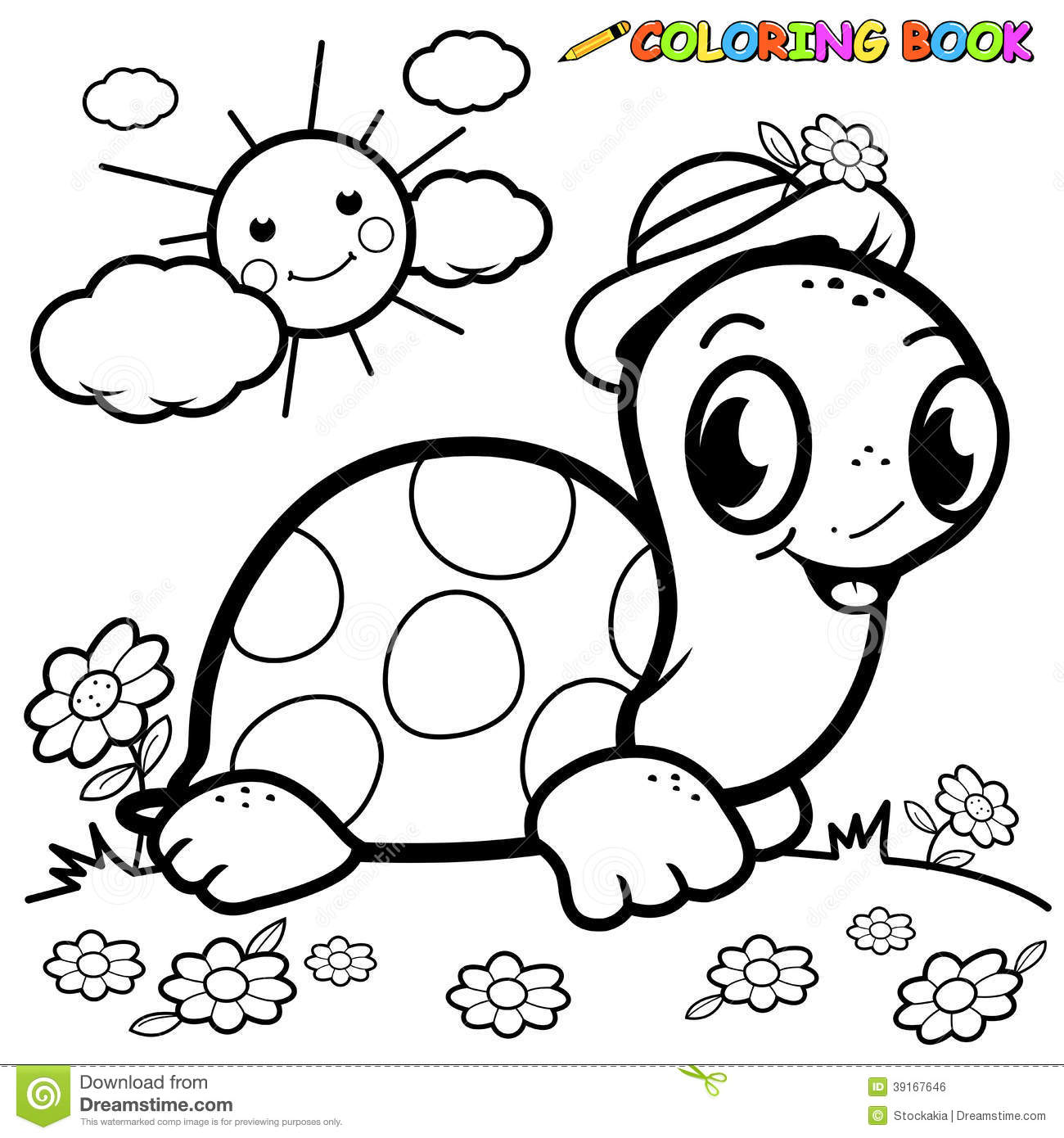 Coloring Book Turtle In Grass Stock Vector - Illustration of ...