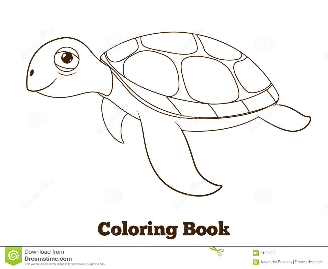 Coloring Book Turtle Sea Animal Illustration Stock Vector ...