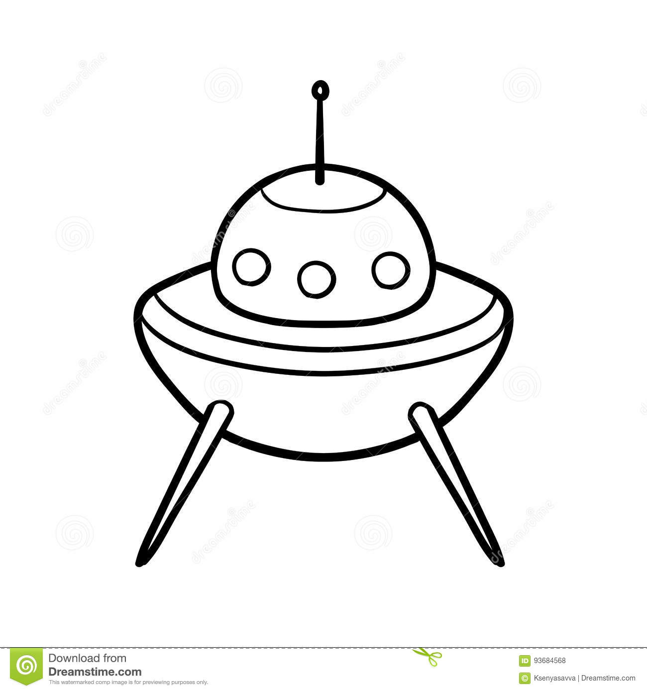 Coloring book, UFO stock vector. Illustration of adorable - 93684568