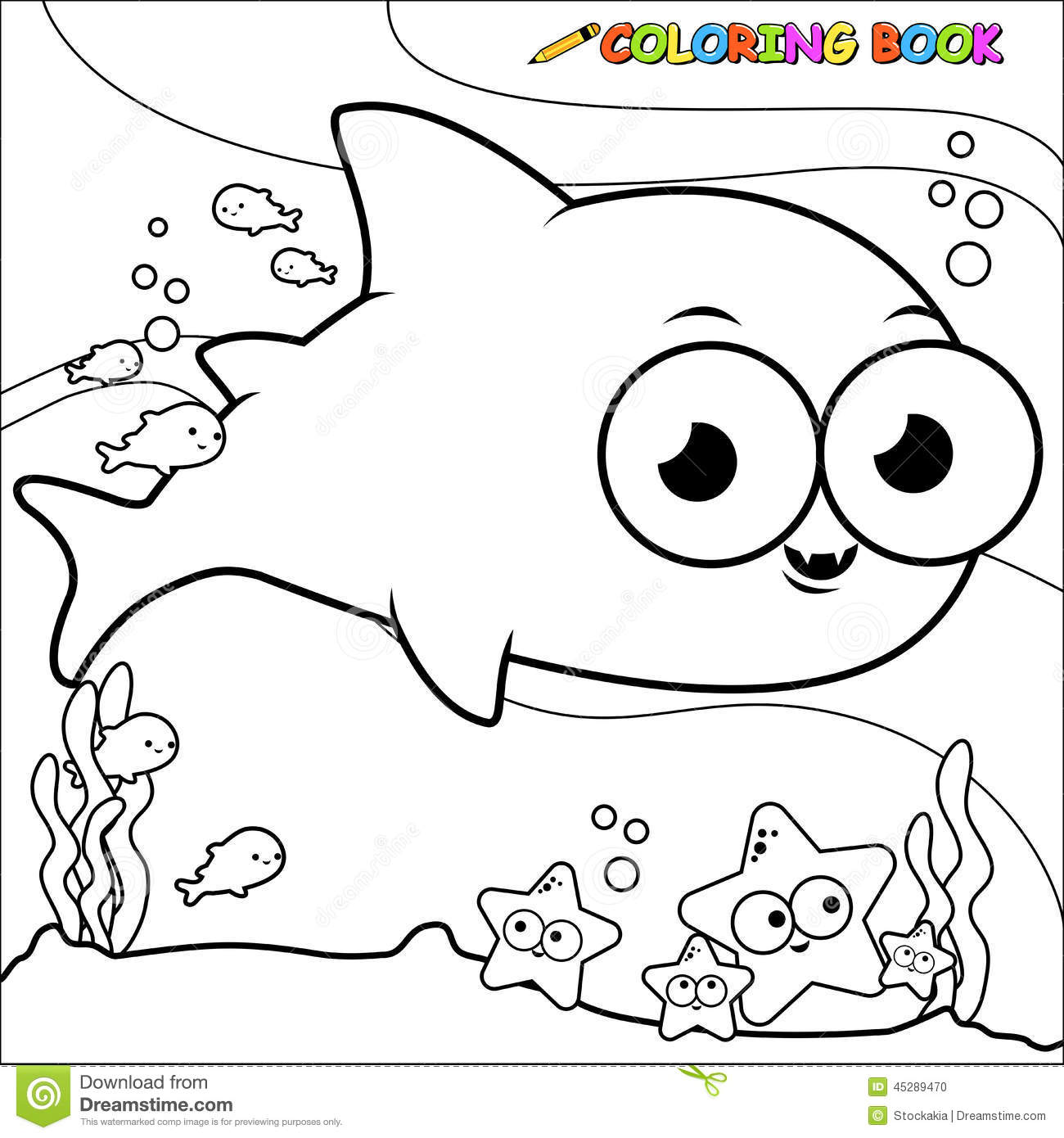 Coloring Book Underwater Shark Stock Vector - Illustration of ...