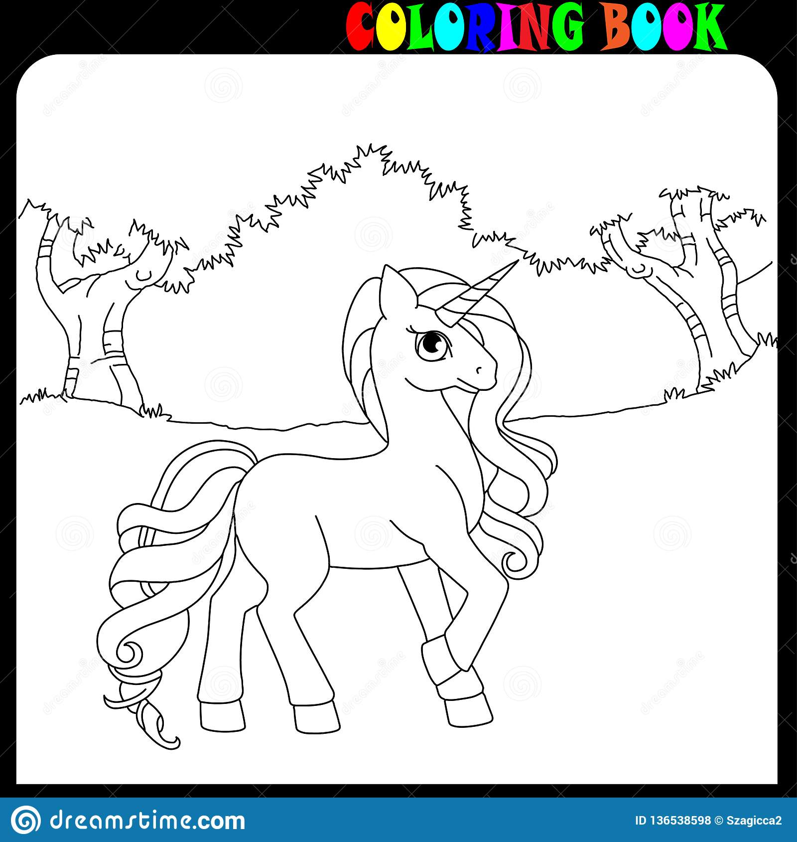 Coloring Book Unicorn Horse Or Pony Theme In The Garden Or Forest Stock Vector Illustration Of Animal Forest 136538598