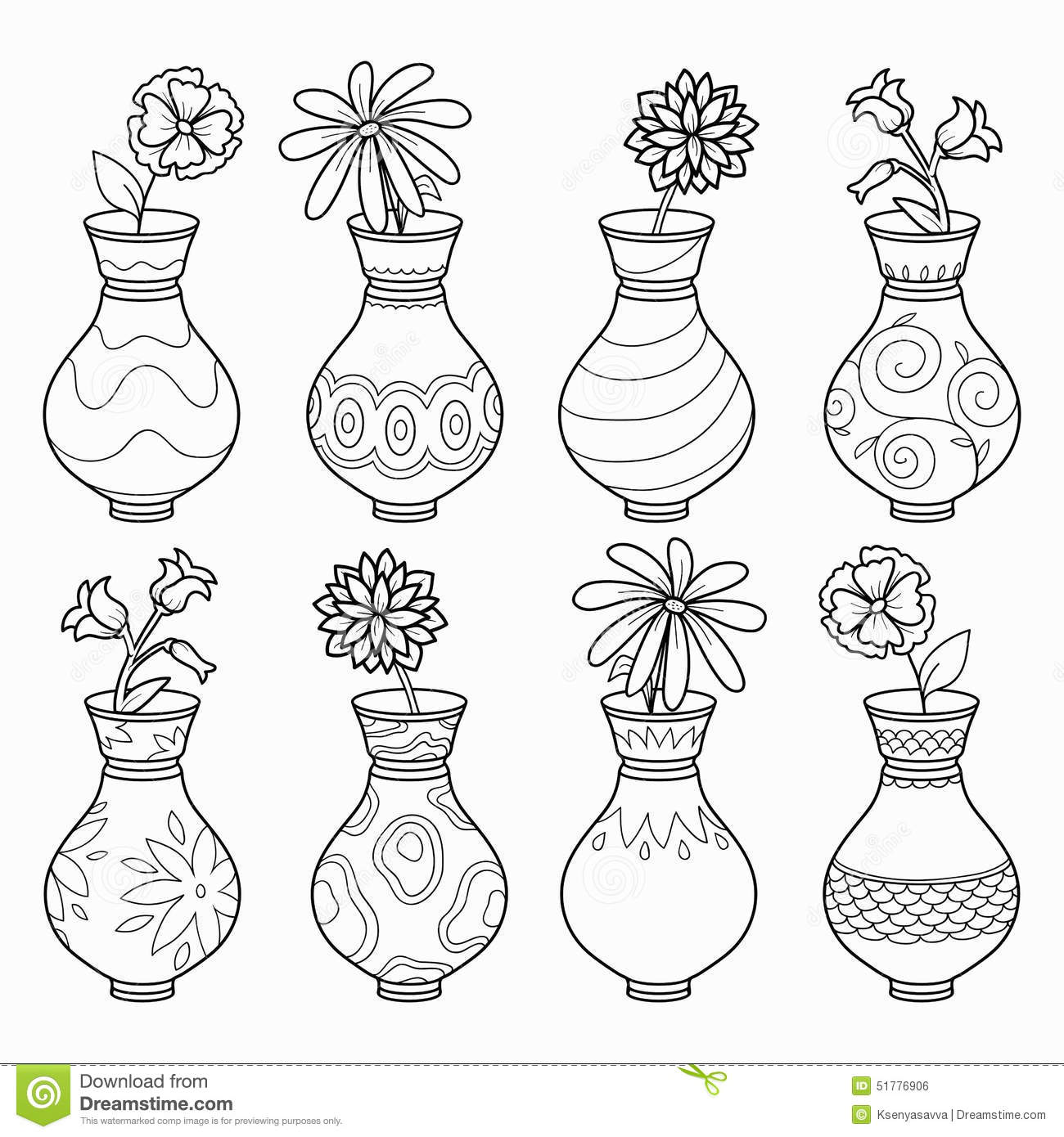 Coloring Book Vases With Flowers Vector Colorless Set Stock