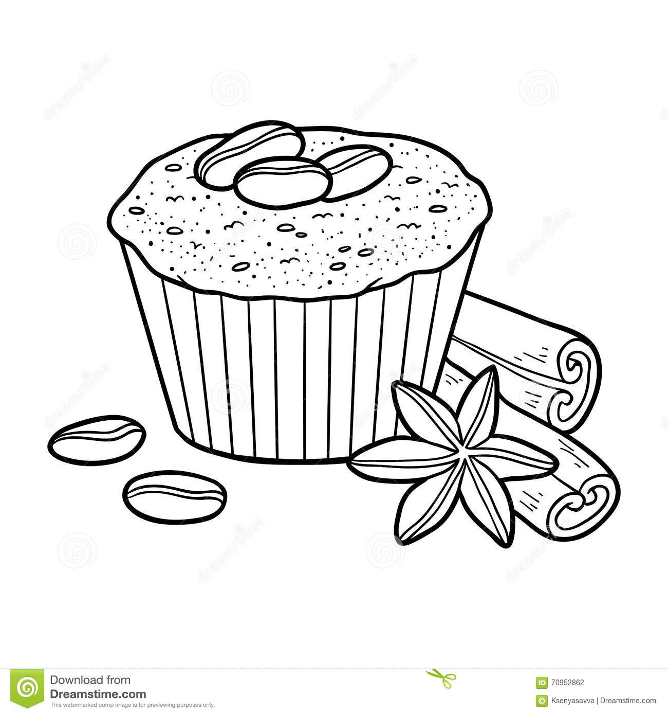 Coloring Book Vector Cupcake With Coffee Beans
