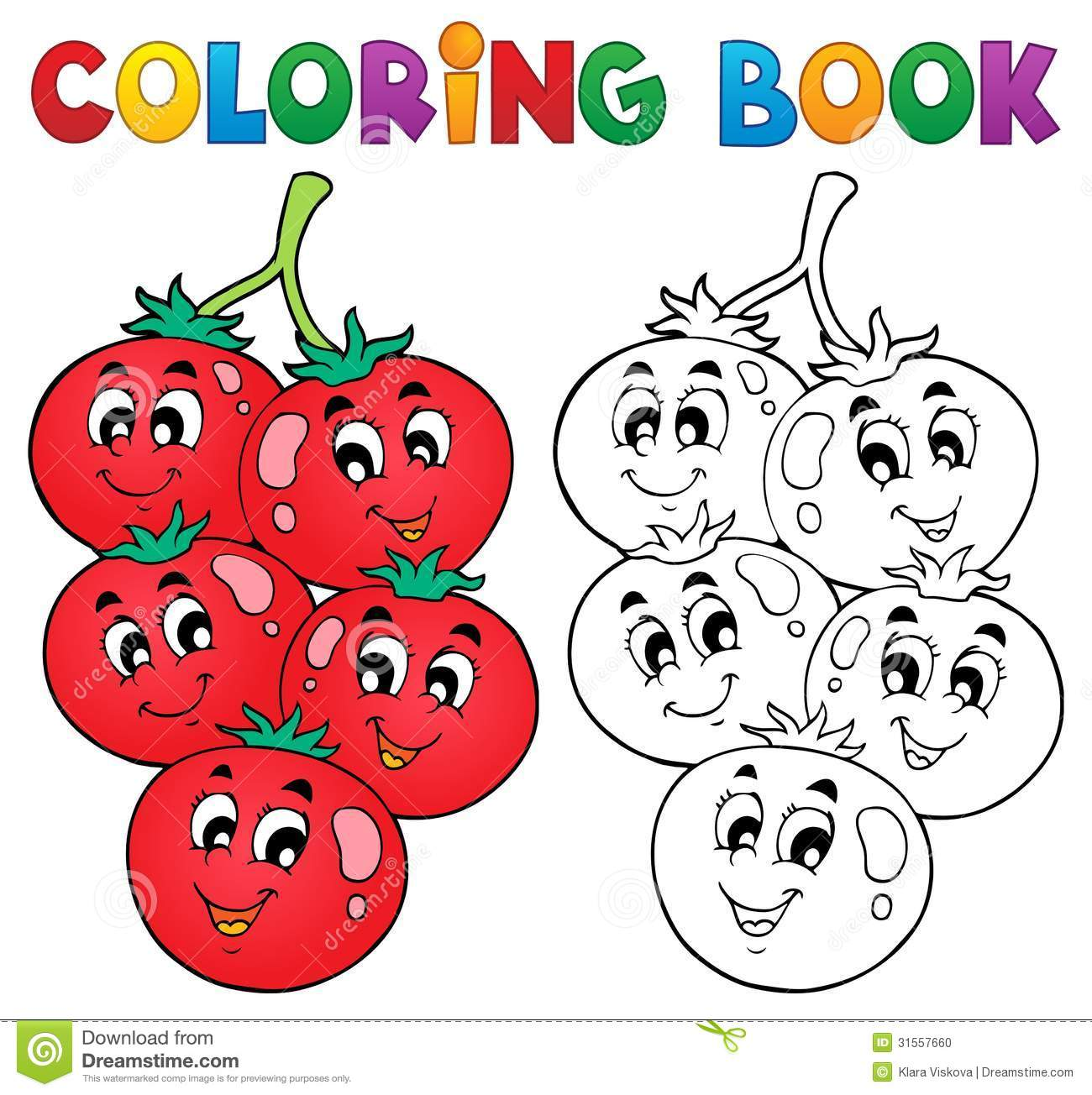 Coloring Book Vegetable Theme 3 Stock Vector - Illustration of ...
