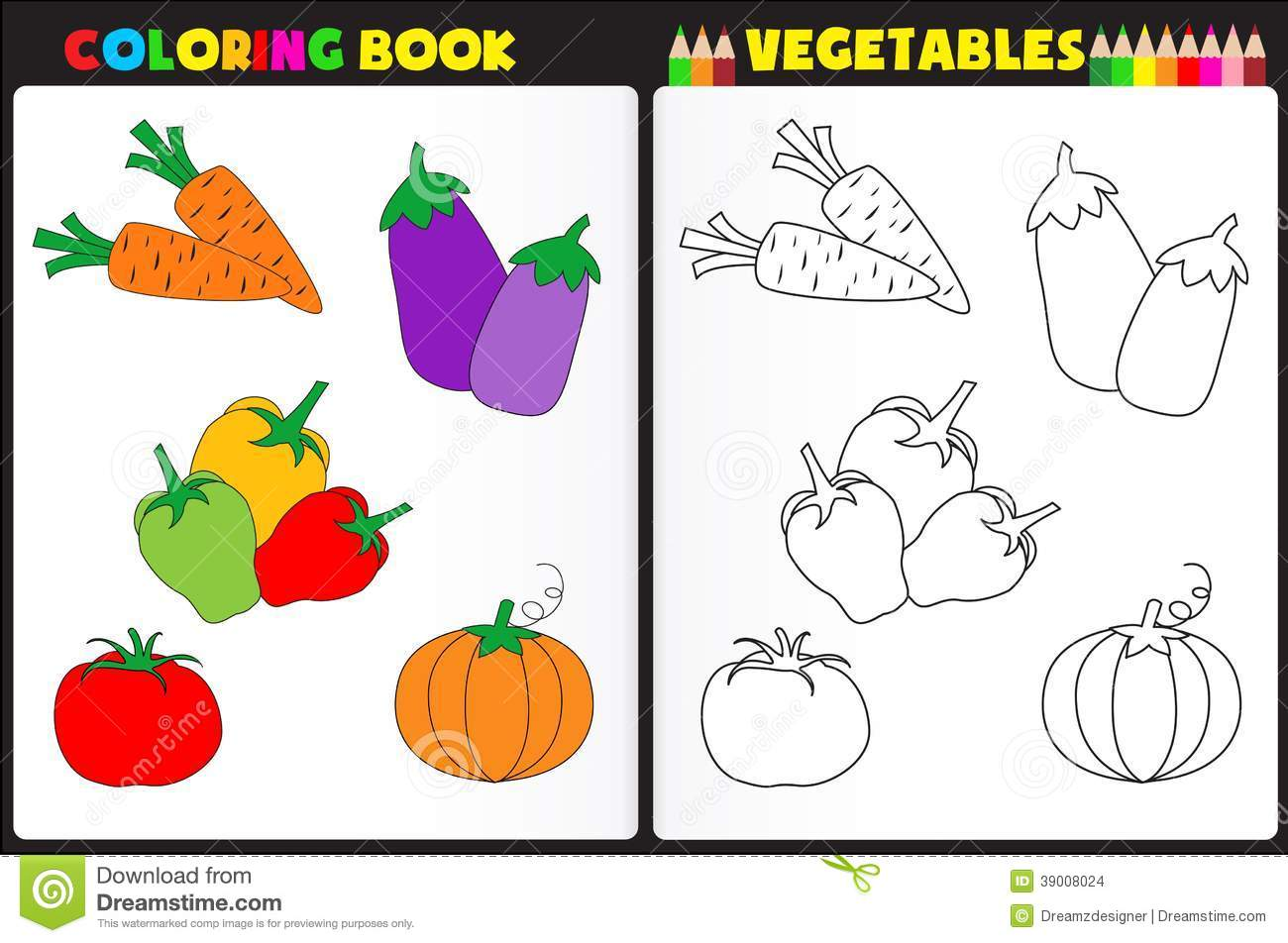 Book Page For Kids With Colorful Vegetables And Sketches To Color