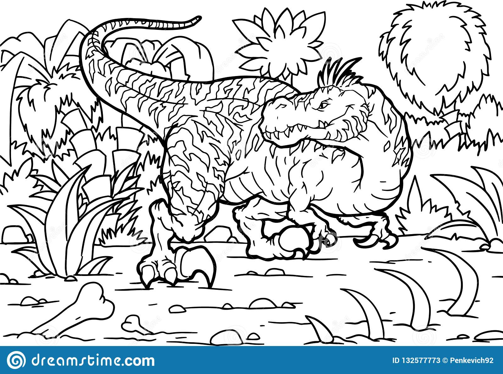 Coloring Book Velociraptor Dinosaur Coloring Stock Vector Illustration Of Cretaceous Isolated 132577773