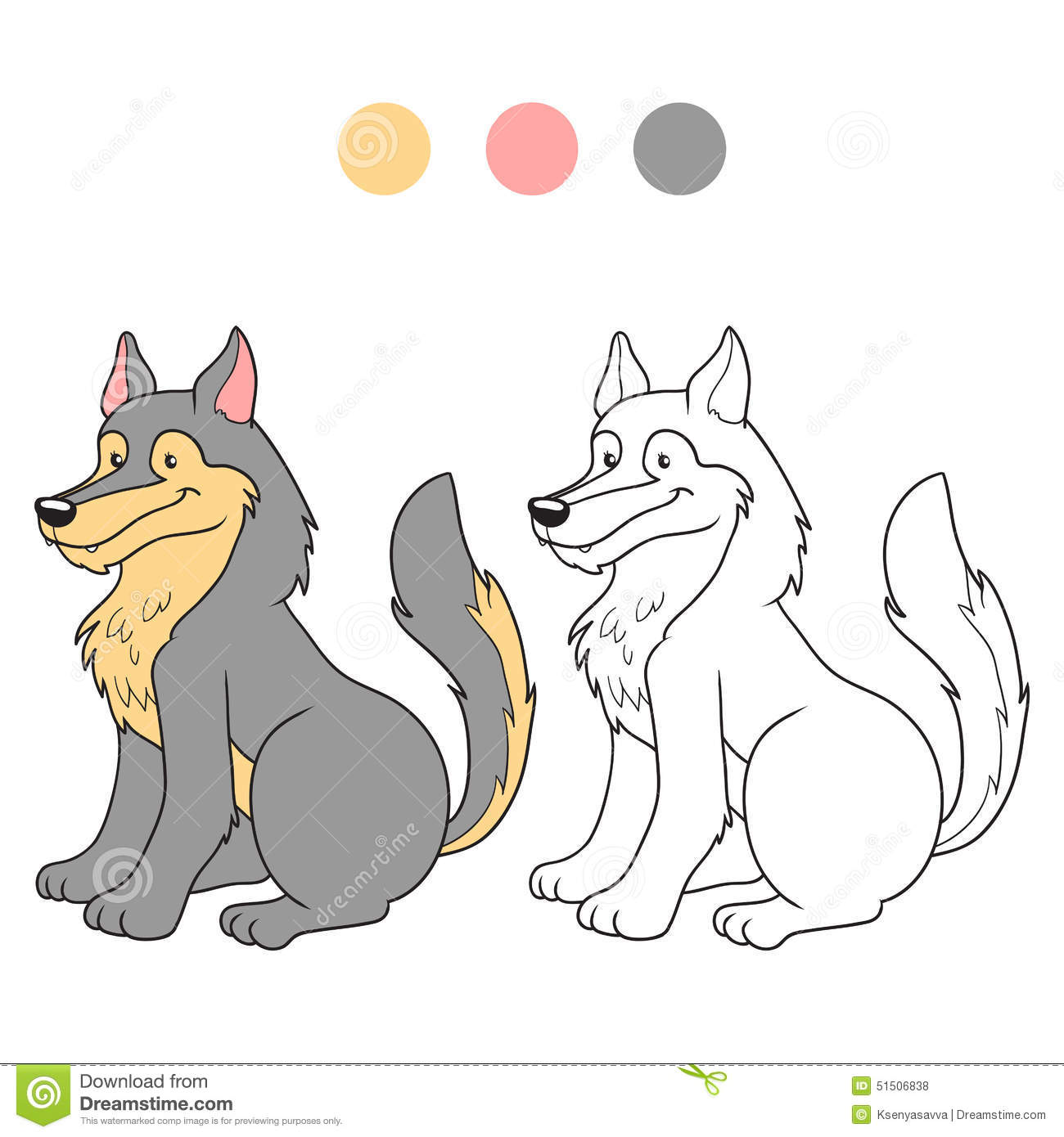 Coloring book (wolf) stock vector. Illustration of color ...