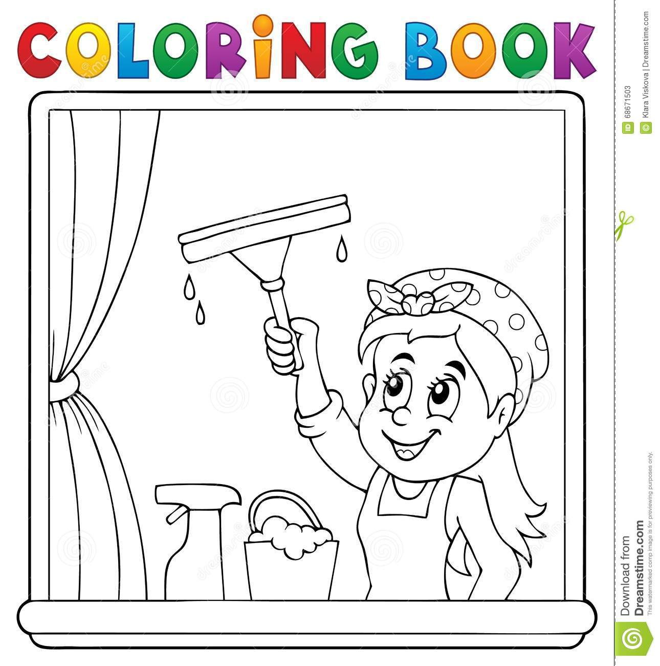 Coloring Book Clean Woman Cleaning Window Stock Vector Image