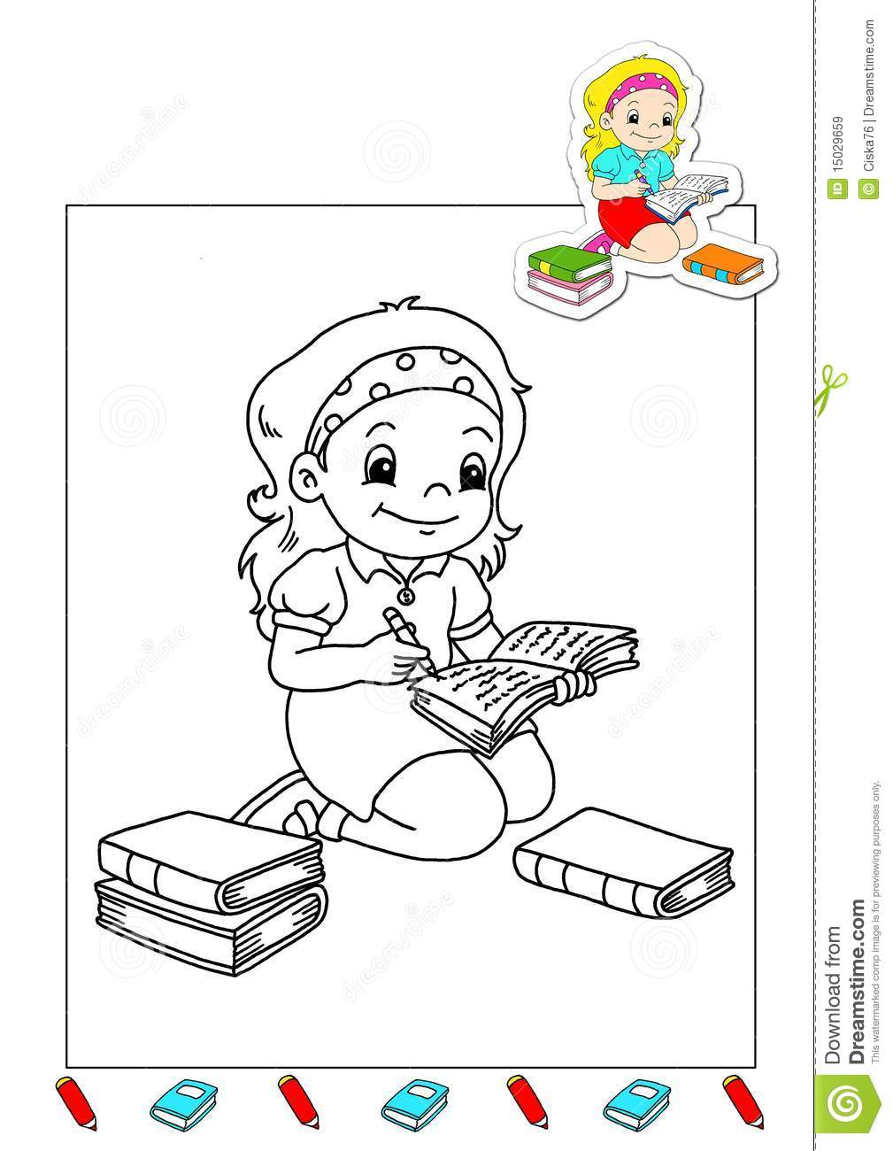 coloring book of the works 28 writer royalty free stock images