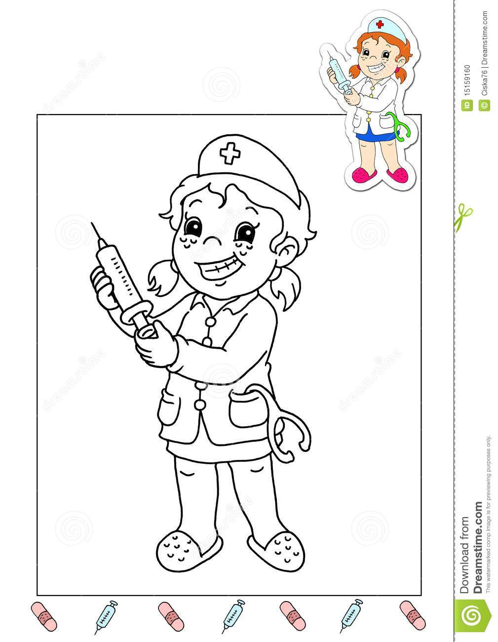Coloring Book Of The Works 32 - Nurse Stock Illustration ...
