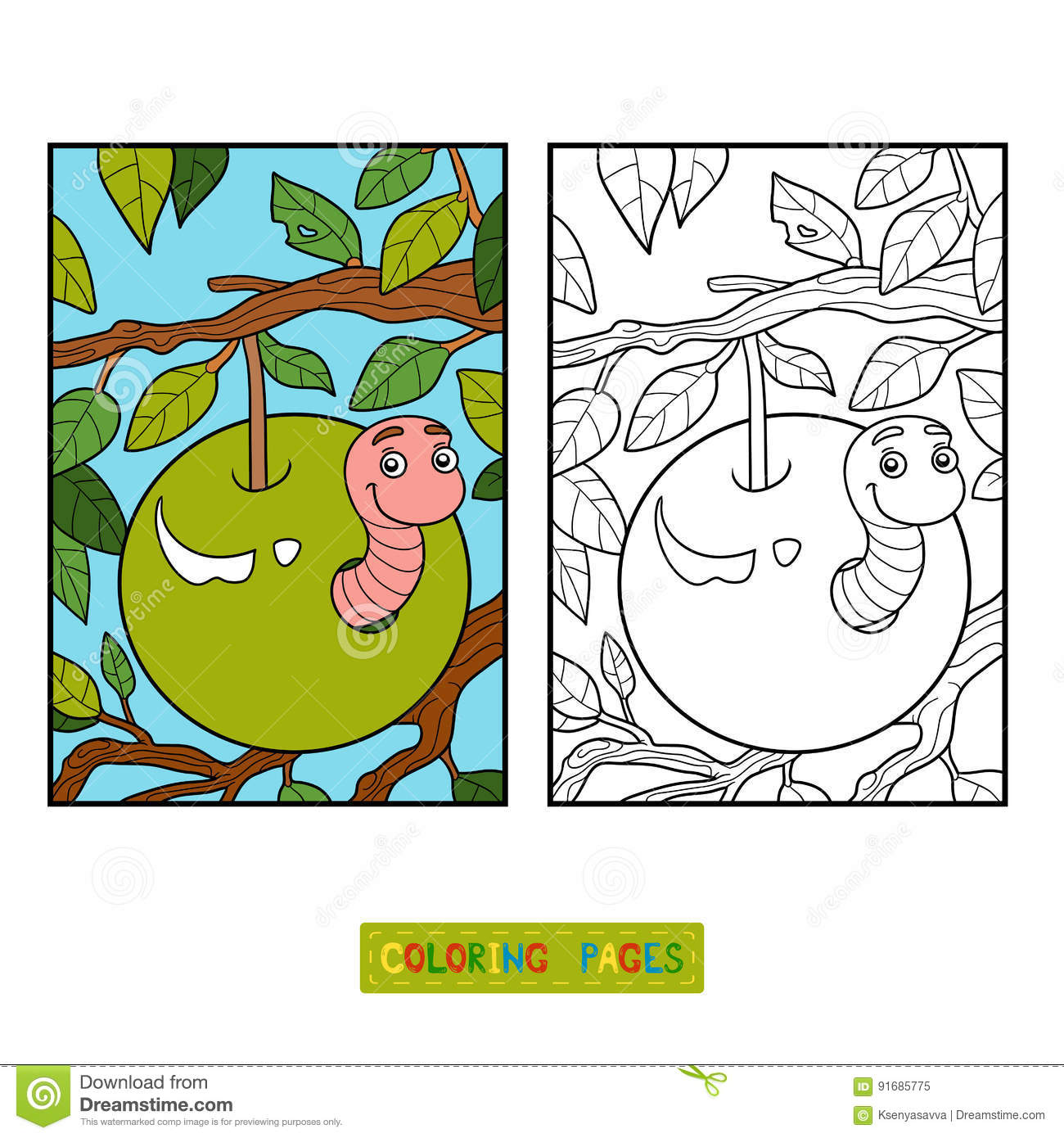 Coloring Book, Worm In Apple Stock Vector - Illustration of game ...
