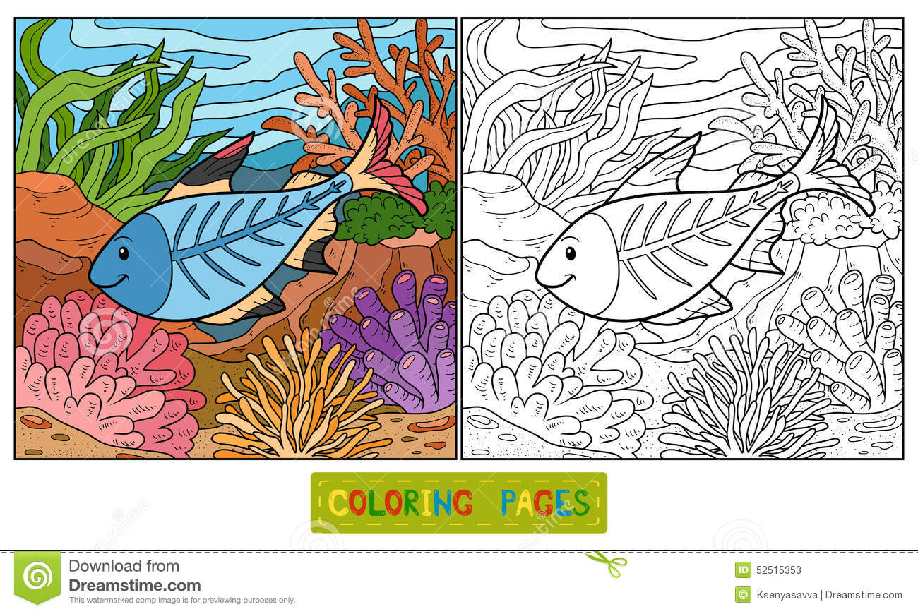 Coloring book x ray fish stock vector image 52515353 for Colorful fish book