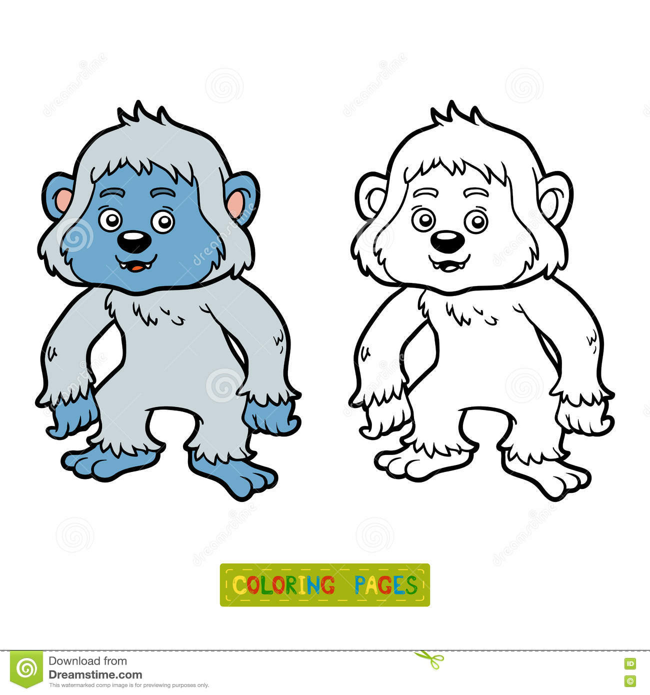 Coloring Book Yeti Stock Vector