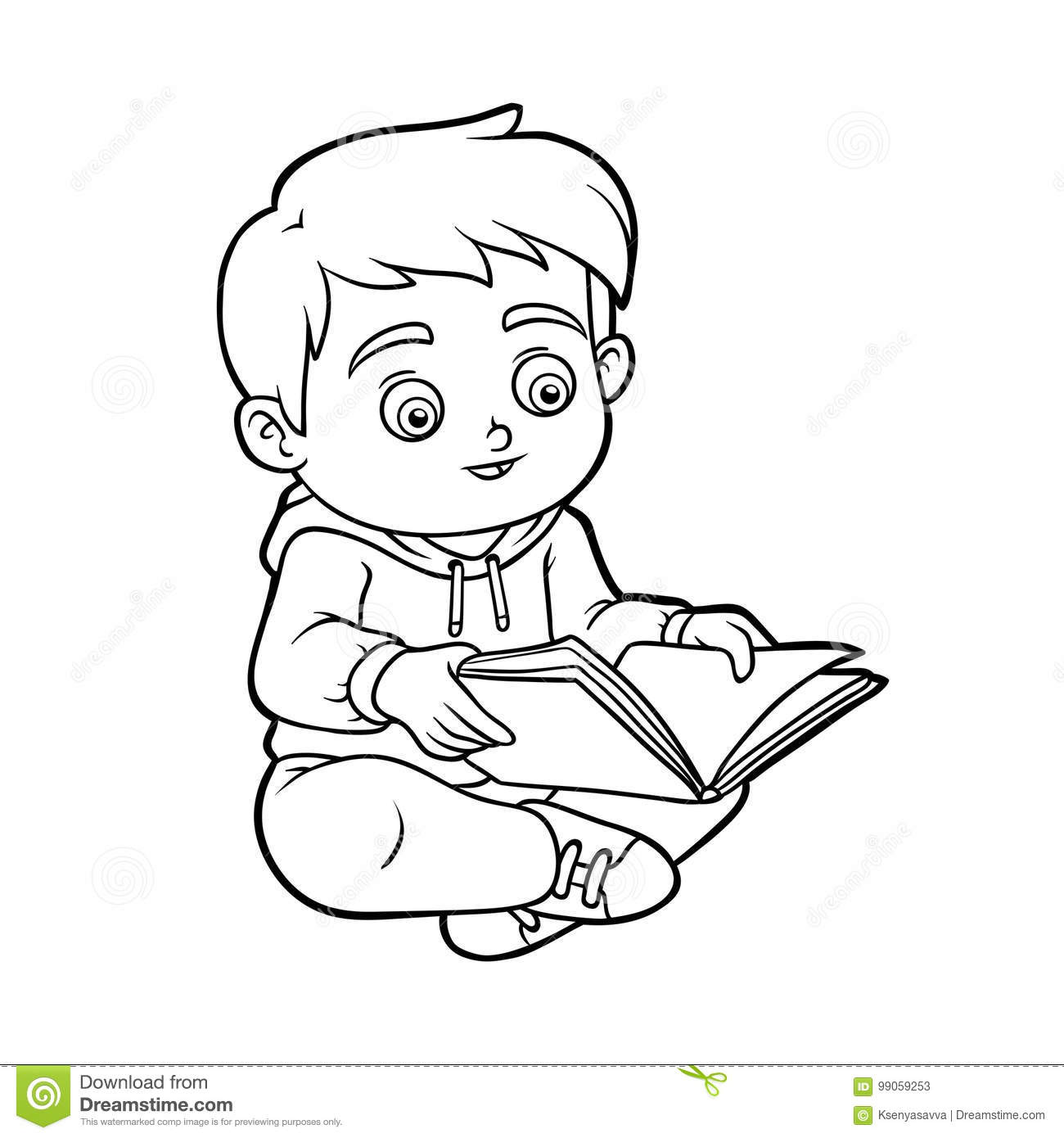 Coloring Book, Young Boy Reading A Book Stock Vector - Illustration ...