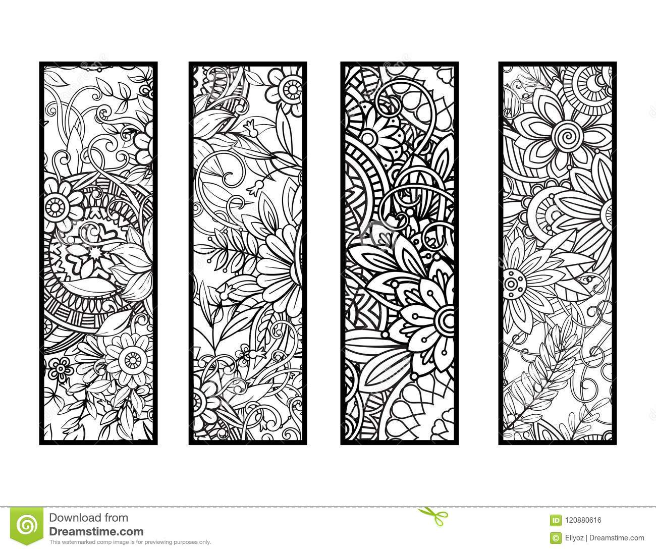Coloring bookmarks set stock vector. Illustration of bookmarks ...