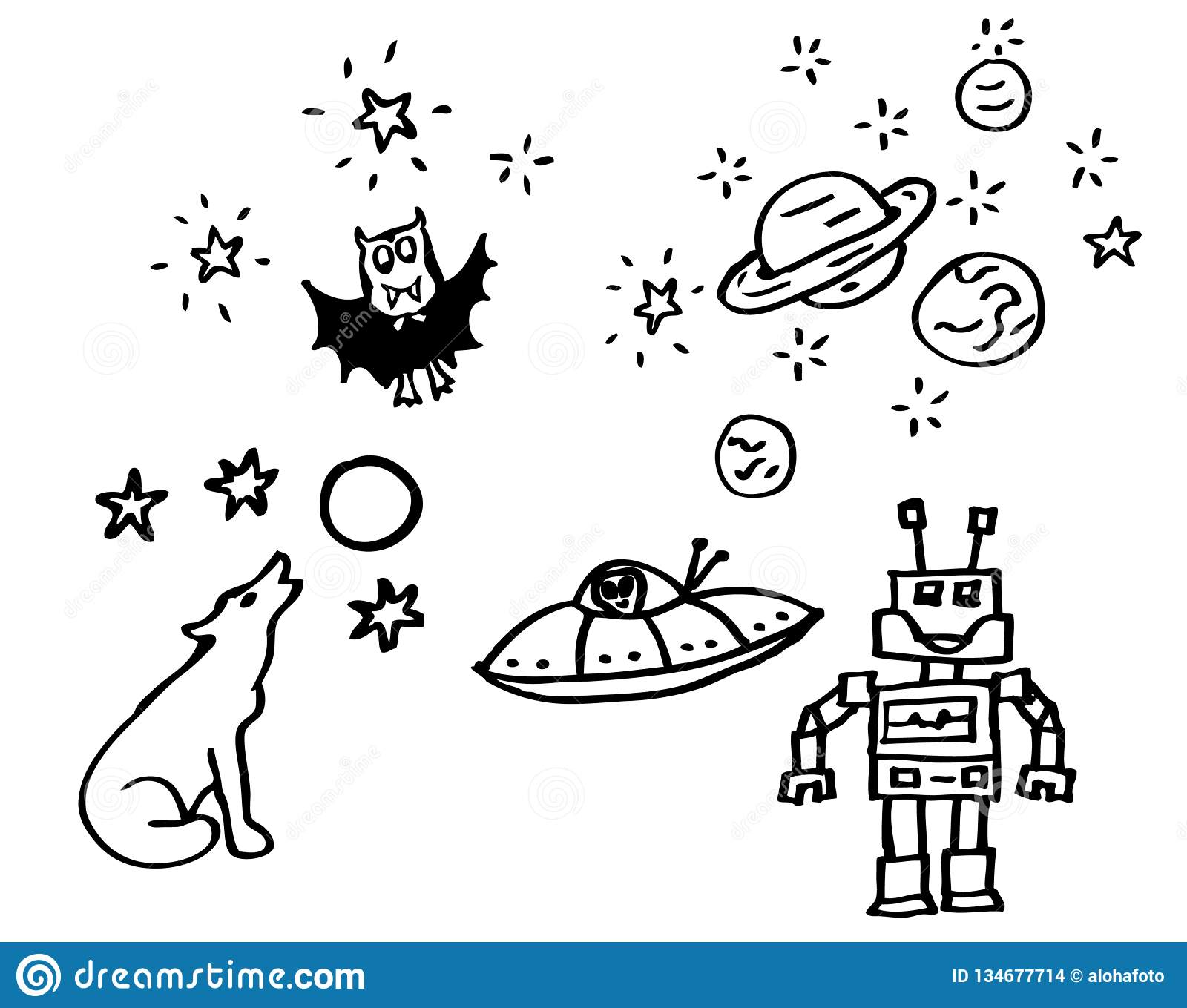 Coloring Book - Drawings About Night And Space With A ...