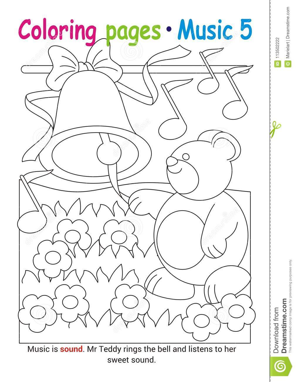 Coloring books page 5 learn about music with teddy the bear educational elementary game