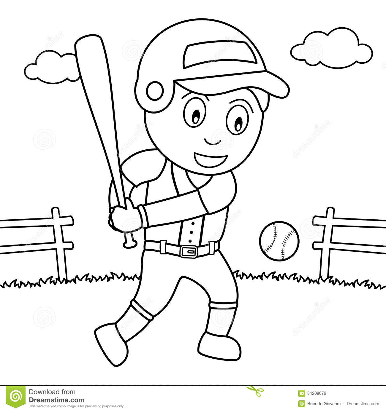 coloring boy playing baseball in the park stock vector image